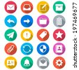 Email flat color icons - stock vector