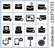 email set, communication, message box icon set - stock photo