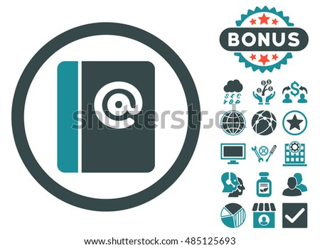 Emails icon with bonus elements. Vector illustration style is flat iconic bicolor symbols, soft blue colors, white background.