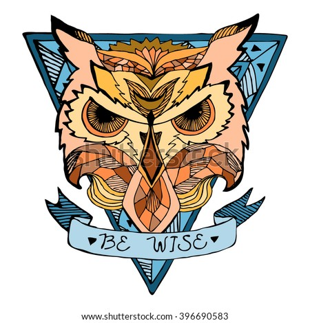 Emblem with the owl head