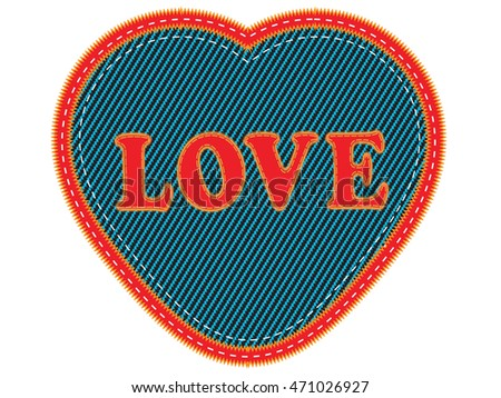 Embroidered word Love heart.Vector