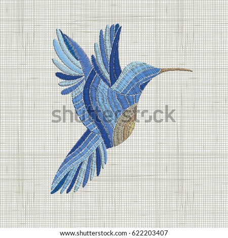 Embroidery Blue Bird Vector Embroidery Home Decor Ornament For Textile Fashion Fabric