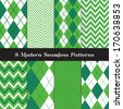 Emerald and Green Argyle and Chevron Seamless Patterns. St. Patrick's Day or Golf theme backgrounds. Pattern Swatches included and made with Global Colors. - stock vector