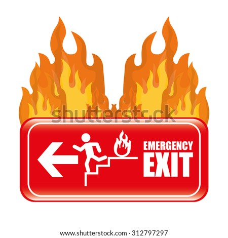 Emergency exit digital design, vector illustration 10 eps graphic