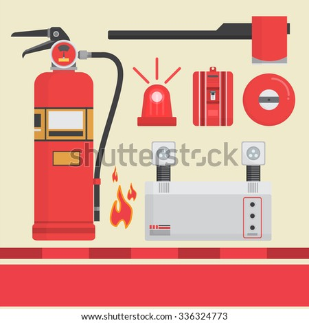 Emergency Tools  Red Set Vector Illustration