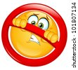 Emoticon behind a not allowed sign - stock vector