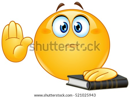 Emoticon taking oath or swearing. Raising his hand and put the other on a holy book.
