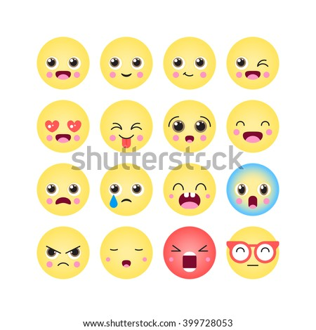 emoticons emoji kawaii icon set isolated vector illustration