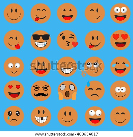 Emoticons.Smileys icon yellow color.Emoji face vector on blue background