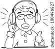 emotion singing guy with headphone. Emotion series, vector file - stock vector