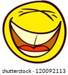 Emotional funny smiley. Done in comic doodle style. - stock photo