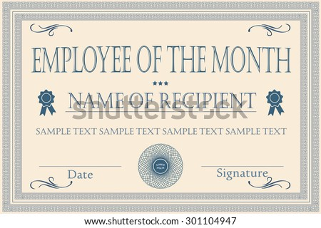 Employee Month Certificate Illustration Vector Vector – Employee of the Month Certificate Template Free