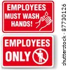 EMPLOYEES ONLY and EMPLOYEES MUST WASH HANDS signs with drop shadow or white border - stock vector