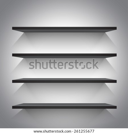 Empty black shelves on light grey background. Vector illustration