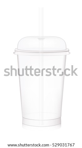Empty fast food cup with lid and straw. vector illustration