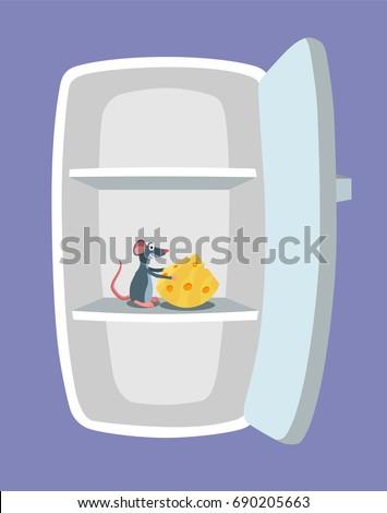 hand drawn fridge empty fridge mouse cheese inside it stock illustration 710816011