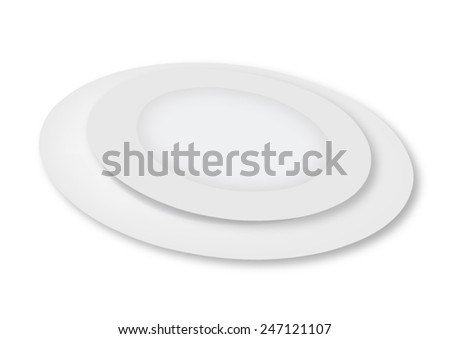 Empty plates on a white background - vector