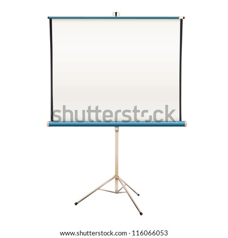 Empty projector screen. Isolated vector design.