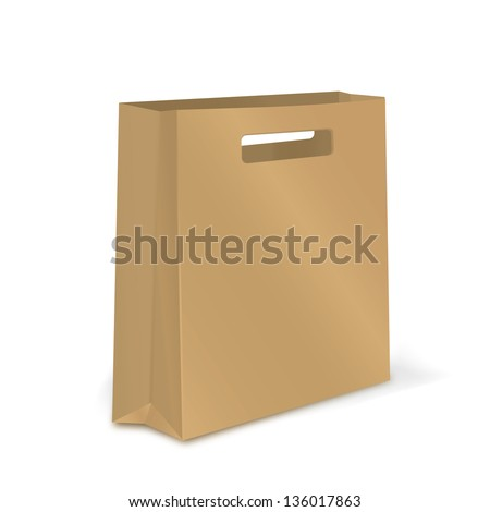 Empty Shopping Bag Craft Paper Vector Stock Vector 136226345 ...