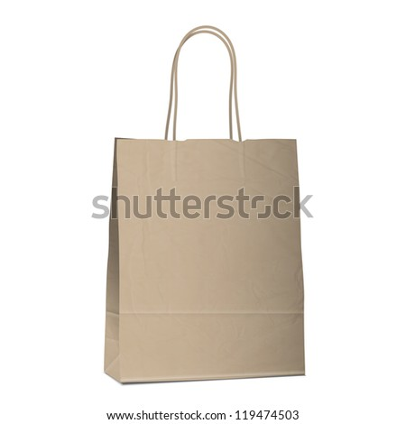 Empty shopping brown bag on white. Vector eps10