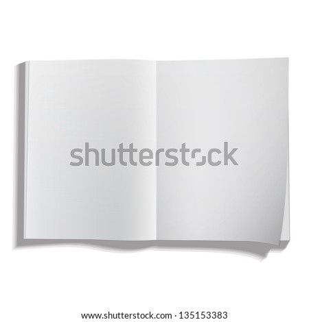 Empty white book isolated on white. Vector design.