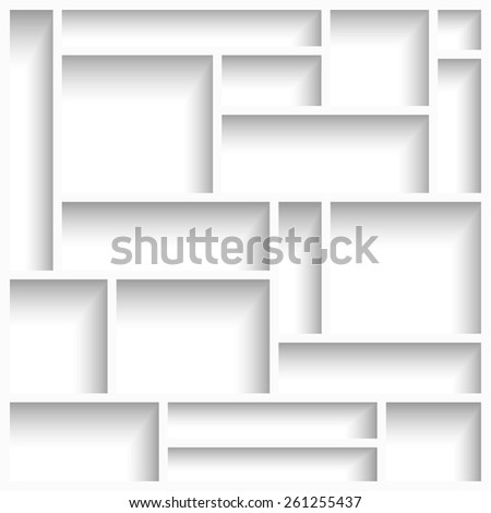 Empty white modern shelves with shadow. Vector illustration