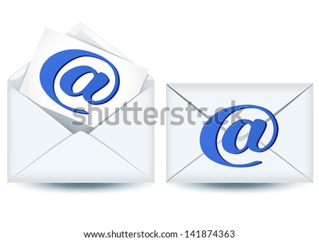 Enclosed and open envelopes with e-mail sign