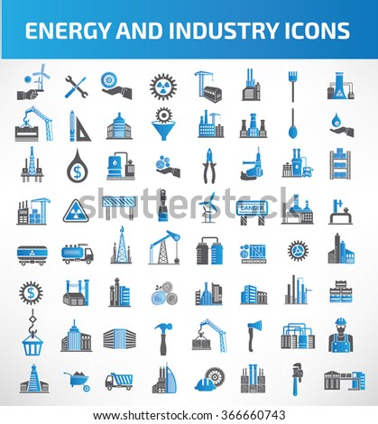 Energy and Industry Icon set,blue version,clean vector