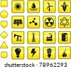 Energy Icon on Yellow Sign Button Collection Original Illustration - stock vector