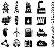 Energy icon set on white - stock photo