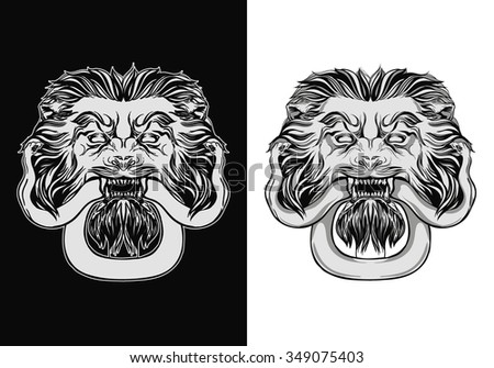 Engraved lion head door knocker. Lion with snake. Hand drawn vector illustration isolated