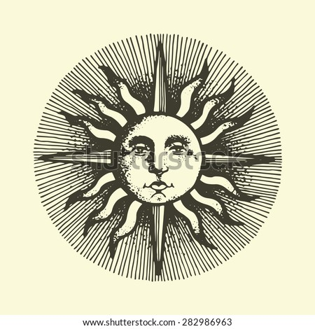 engraved sun with the face. vector illustration