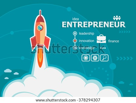 Entrepreneur design and concept background with rocket. Entrepreneur concepts for web banner and printed materials.