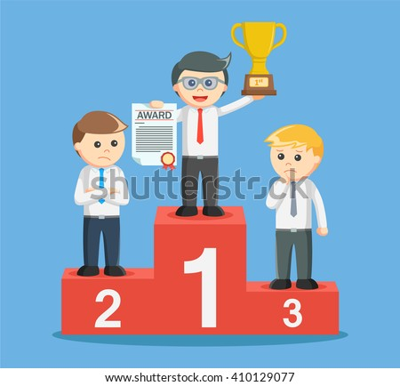 entrepreneur get a trophy on the podium