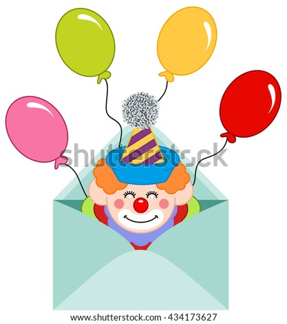 Envelope opened with clown and balloons