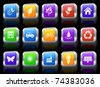 Environment Icon on Square Button with Metallic Rim Collection Original Illustration - stock vector