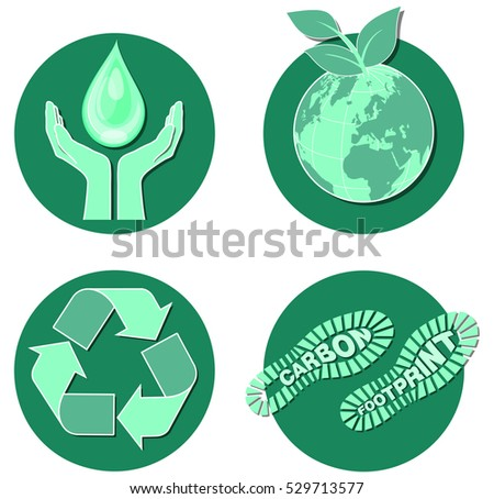 Environment icons, saving the planet, water, carbon emissions, green issues