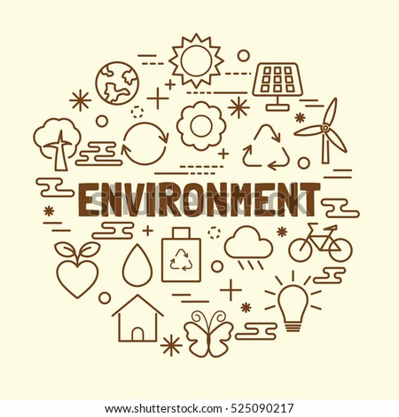 environment minimal thin line icons set, vector illustration design elements