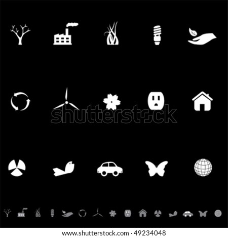 Environment related ecology icon set