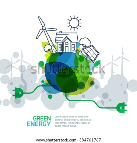 Environmental and ecology concept. Vector green earth with wire plug. Power generation and alternative energy outline illustration. Creative background for save earth day.