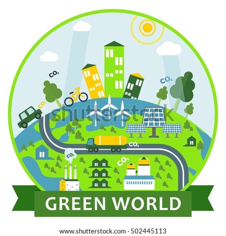 Environmentally friendly city with renewable energy, solar panels, wind generators. Clean air and water. Green world. Flat vector Green world illustration. Objects isolated on a white background.
