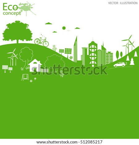 Environmentally friendly world. Vector illustration of ecology the concept of info graphics modern design. The icon and sign. Ecological concepts. Electric car. Background. Paste text.