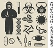 epidemic protection and medical icons set - vector illustration. eps 8 - stock