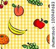 EPS 10: Seamless collection of grungy, crude, rough outline hand drawn fruits with shadows over yellow gingham pattern, perfect picnic table cloth. - stock vector