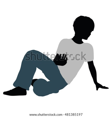 EPS 10 vector illustration of boy silhouette in Intimate Talk Pose