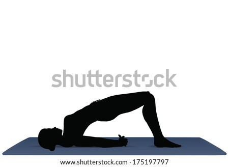 EPS 10 vector illustration of Yoga positions in Bridge Pose