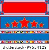 EPS8 Vector 3 red, white and blue headers with copy space and nautical flags. - stock photo