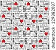 Eps 10 vector valentine pattern with black color love text on white background - stock photo
