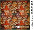 EPS10 vintage background with cartoon animals - stock