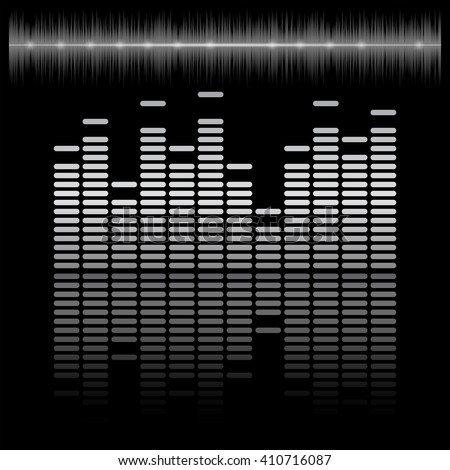 Equalizer bar with reflection and sound chart, 2d vector on dark background, black and white colors, eps 10